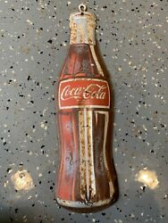 Vintage Coca-cola Bottle 18andrdquo Advertising Tin Thermometer In Celsius Made In Usa