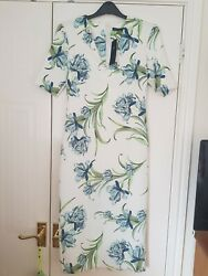 Marks And Spencers White Floral Dress Size 8 Great For A Wedding Or Work Wear