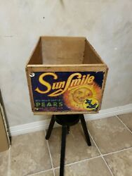 Antique Sun Smile Brand Pears Wood Wooden Shipping Box Fruit Crate Blue Anchor