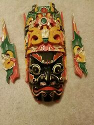 Vintage Wooden Chinese Beijing Opera Face Mask
