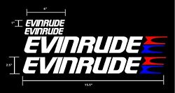 4 Pack Evinrude White Red And Blue Decals Stickers Graphics.