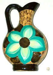 Beautiful 15 Ceramic Hand Painted Floral Designs Flower Pitcher Vase Pottery Gd
