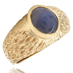 Star Sapphire Ring w/ Bark Texture in 14K Yellow Gold