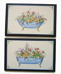 Bath Tubs Victorian Wall Decor Plaques Cottage Flowers Bathroom Pictures