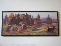 Bears Rustic Wall Decor Plaque Primitive Country Cabin Lodge Black Bear Picture