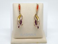 Authentic Kabana 14k Yellow Gold Dangle Spiny Oyster Inlay Diamond Earrings New
