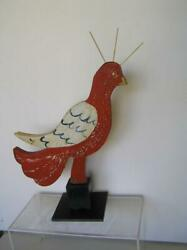 Folk ART Itinerant Chicken Carved Wood handpainted from Louisiana on Metal Base