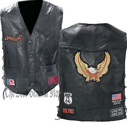 Black Leather Motorcycle Riding Vest with EagleBiker Patches Lace Up Sides Coat