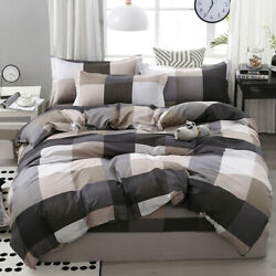 Big Checked Print Duvet Covers 3PCS King Queen Full Twin For Summer Bedding
