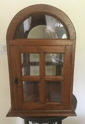 Antique 1900s Rare Wood Glass Display Cabinet Table Top Ooak
