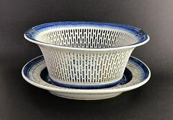 Qianlong Export Porcelain Oval Blue And White Reticulated Basket With Underplate