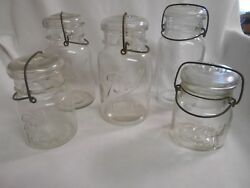 5 Vintage Quart And Pint Canning Garden Jars Ball Ideal Square And Ball Ideal 1908