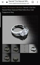 Zelda Engagement Ring by Sapphire Studios. White Gold1.75ctsize 7.5Certified