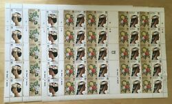 Full Sheets Tuvalu 1987 Sc 443-6 - Headdresses And Flowers- 4 Sheets Of 20 - Mnh