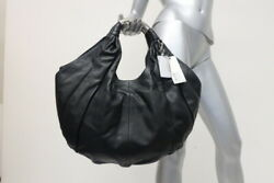Kenneth Cole Bag Black Leather Wrap It Up Tote Large Hobo Shoulder Bag NEW