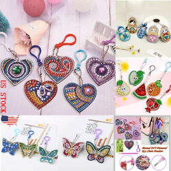 35pcs DIY Full Drill Diamond Painting Keychain Key Ring Pendant Decor Gift US