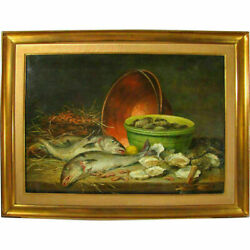 Antique Belgian Still Life Oil Painting Oysters And Copper Pot Charles De Naeyer
