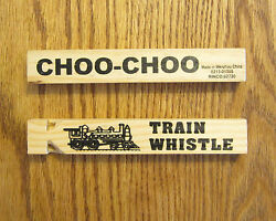 75 WOODEN TOY TRAIN WHISTLES 6.75