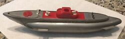 """Vintage 1950s Ideal Toy S16 Submarine/red And Gray/made In Usa/12""""/not Complete"""