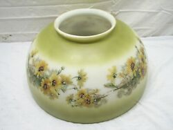 Antique Large Hanging Lamp Milk Glass Shade Floral Frosted Green 14 Bubble