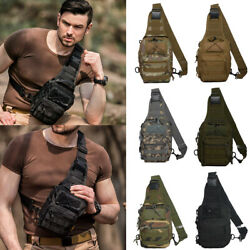 Men Molle Tactical Sling Chest Bag Assault Pack Messenger Shoulder Backpack US
