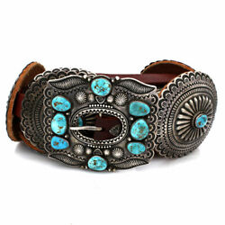 Large Navajo Harry H Begay Sterling Silver & Natural Turquoise Concho Belt