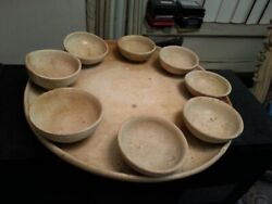 Rare Tang Dynasty [618 - 906] Straw Glazed Pottery Offering-set 8 Cups Tray