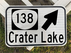 Crater Lake Oregon Route 138 Road Sign 12x18 - National Park - Dot Style