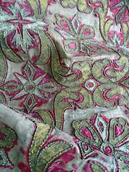 French Antique Metallic Embroidery Barroque Design 17th-century