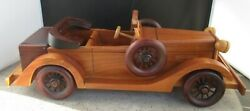 All Wood Roadster Model Car Vintage Antique Side Spare Tires Collectible