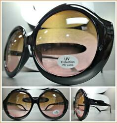Oversized Exaggerated Retro Style Sun Glasses Large Round Black Frame Ombre Lens