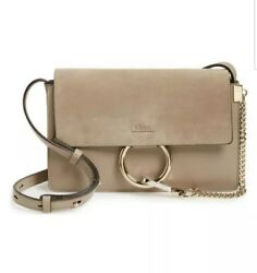 CHLOE Small Faye Leather Crossbody Shoulder Bag in Motty Grey