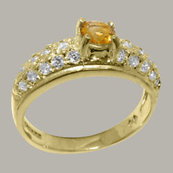 Solid 18k Yellow Gold Natural Citrine And Diamond Womens Band Ring - Sizes J To Z