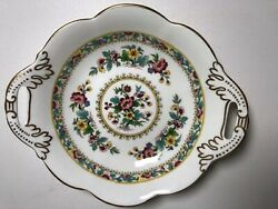 Coalport Ming Rose Double Handle Candy Sweets Dish Bowl Plate 7.75 Inches Diam