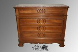 Antique French Walnut Marble Top Commode Chest Of Drawers Buffet Louis Philippe