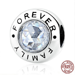 100 925 Sterling Silver Family Forever Clear Cz Beads Charm Pandora