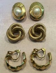 3 Pairs Of Good Quality Gold Plated Vintage Clip On Earrings One By Sarah Gov
