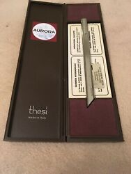Vintage Unused Aurora Thesi Design Roller Ball Flat Pen Original Case.  Italy.