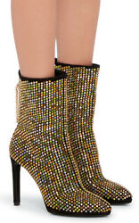 Roberto Cavalli Scarpa Crystal Suede Ankle Boots It39.5
