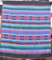 Vintage Camp Blanket, Indian Design In Wool And Cotton,c. 1940, 18585