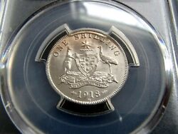 1918-m Australia One Shilling Silver Coin - George V - Pcgs Ms62 Uncirculated