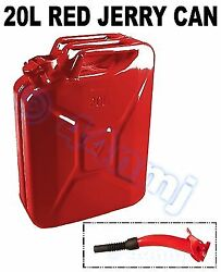 Race Rally Offroad - 20lt Metal Jerry Can And Spout For Fuel Petrol Diesel Red