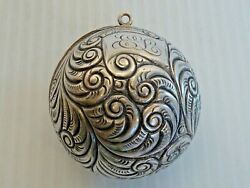 STERLING HINGED THREAD SPOOL BALL W RING FOR CHATELAINE REPOUSSE SWIRL DESIGN