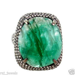 33x22 Mm Emerald Gemstone Natural Diamond 925 Sterling Silver Engagement Ring