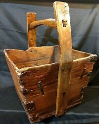 Antique Chinese Wooden Rice Bucket Dovetailed Joints Square Nails Forged Braces