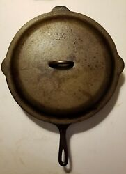 Vintage Lodge Sk 14 Cast Iron Skillet 3 Notch Heat Ring Lid Cover Campfire Cook
