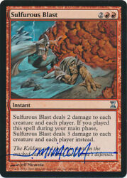 Mtg Magic Sulfurous Blast Time Spiral Signed By Artist Jeff Miracola W/ Coa Nm