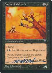 Mtg Wake Of Vultures Visions Signed By Artist Jeff Miracola W/ Coa Nm