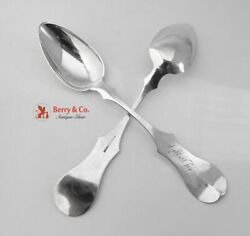 Southern Coin Silver 4 Fiddle Table Spoons Mcgrew Beggs 1850
