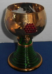 Antique Bohemian Glass Heavily Gilded Etched Engraved Goblet Roemer